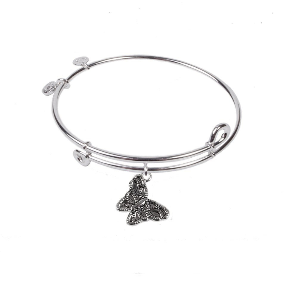 Novobeads Butterfly, Bangle Sterling Silver Plated