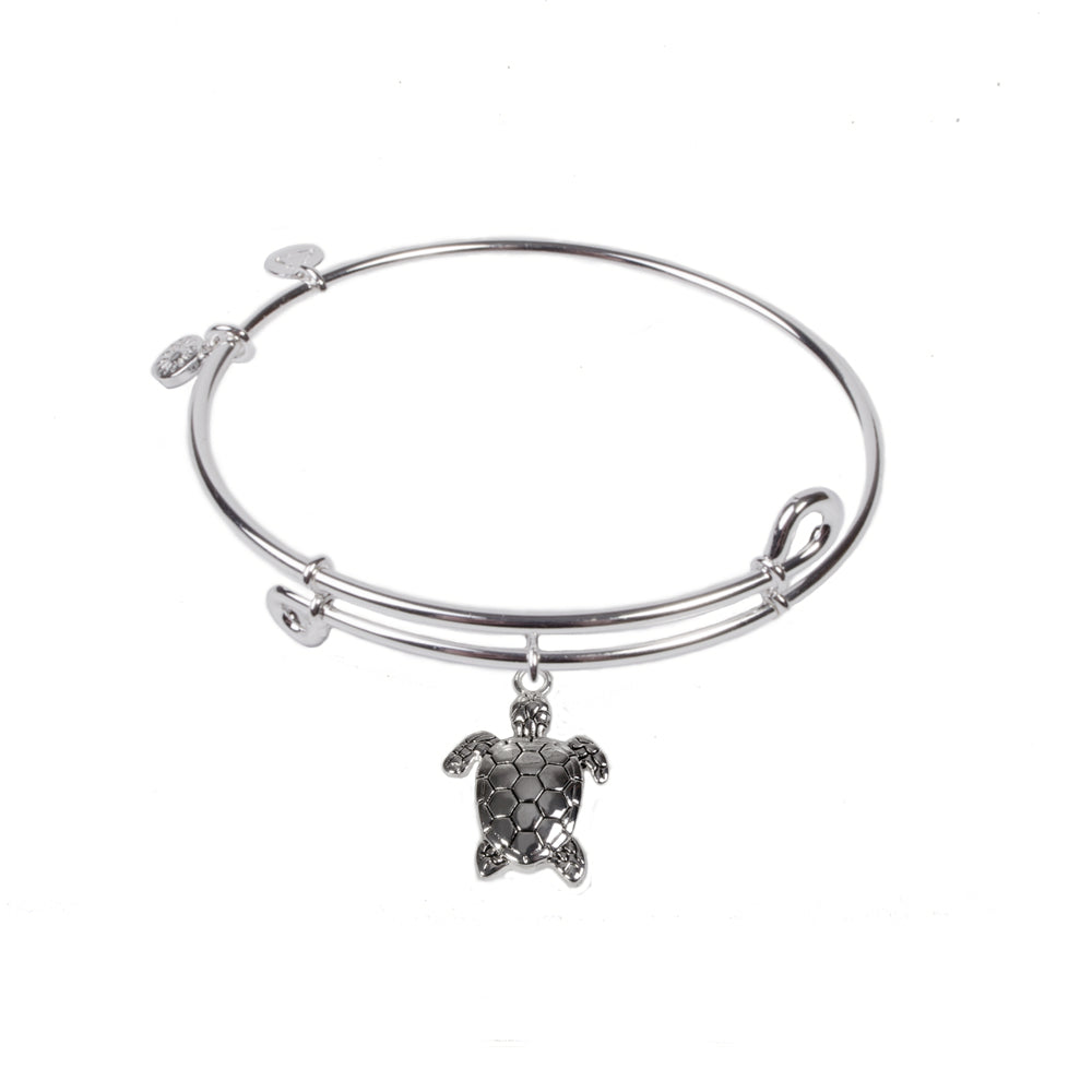 Novobeads Sea Turtle, Bangle Sterling Silver Plated
