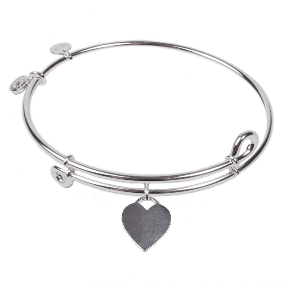 Novobeads Heart Tag, Bangle Sterling Silver Plated
