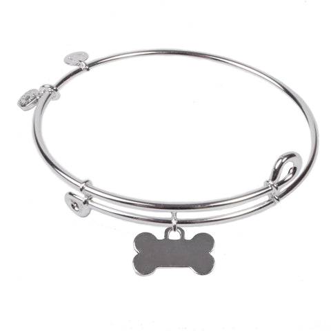 SOL Dog Bone, Bangle Sterling Silver Plated