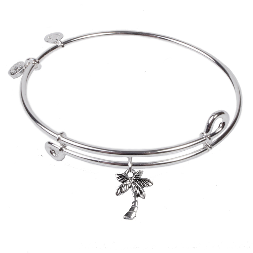 SOL Palm Tree, Bangle Sterling Silver Plated