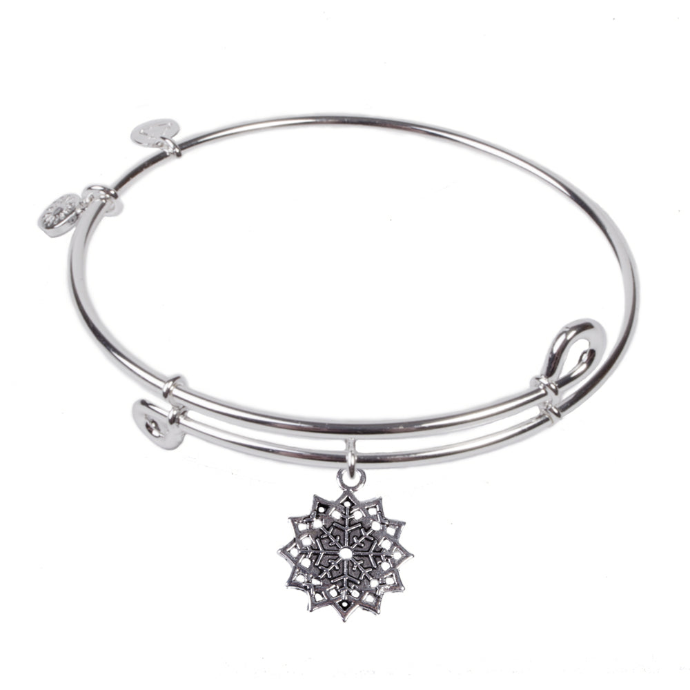 Novobeads Snowflake, Bangle Sterling Silver Plated
