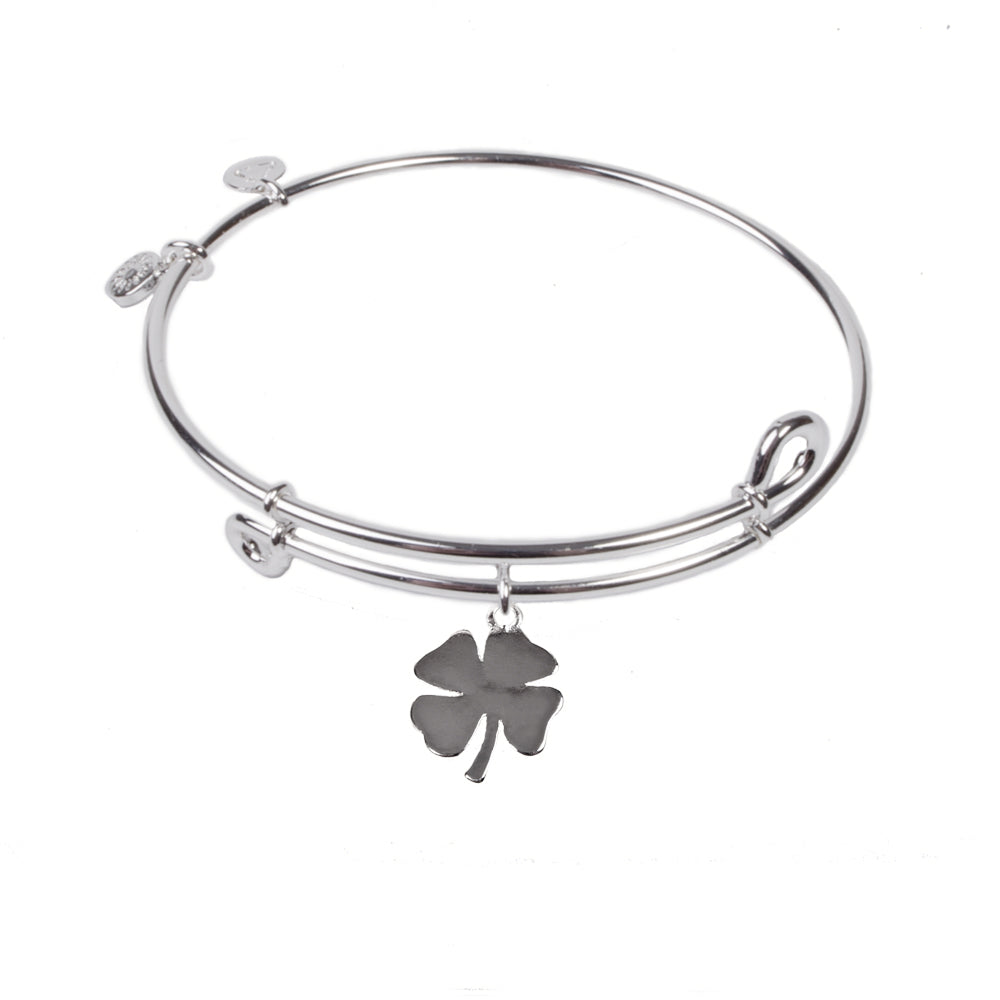 Novobeads Clover, Bangle Sterling Silver Plated