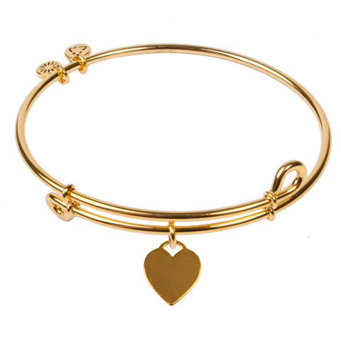 SOL Heart Tag, Bangle 18K Gold Plated