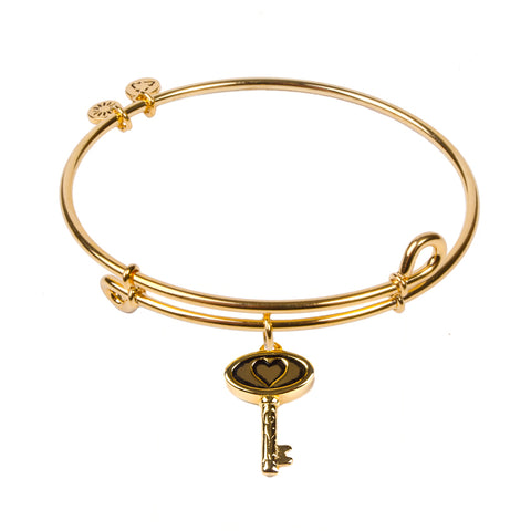 SOL Heart Key, Bangle 18K Gold Plated