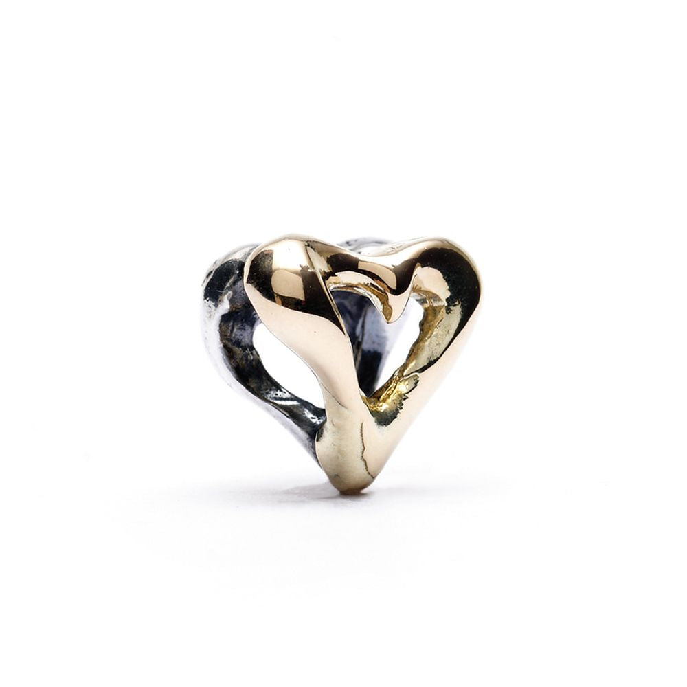 Novobeads Two Hearts, Silver with 14K Gold