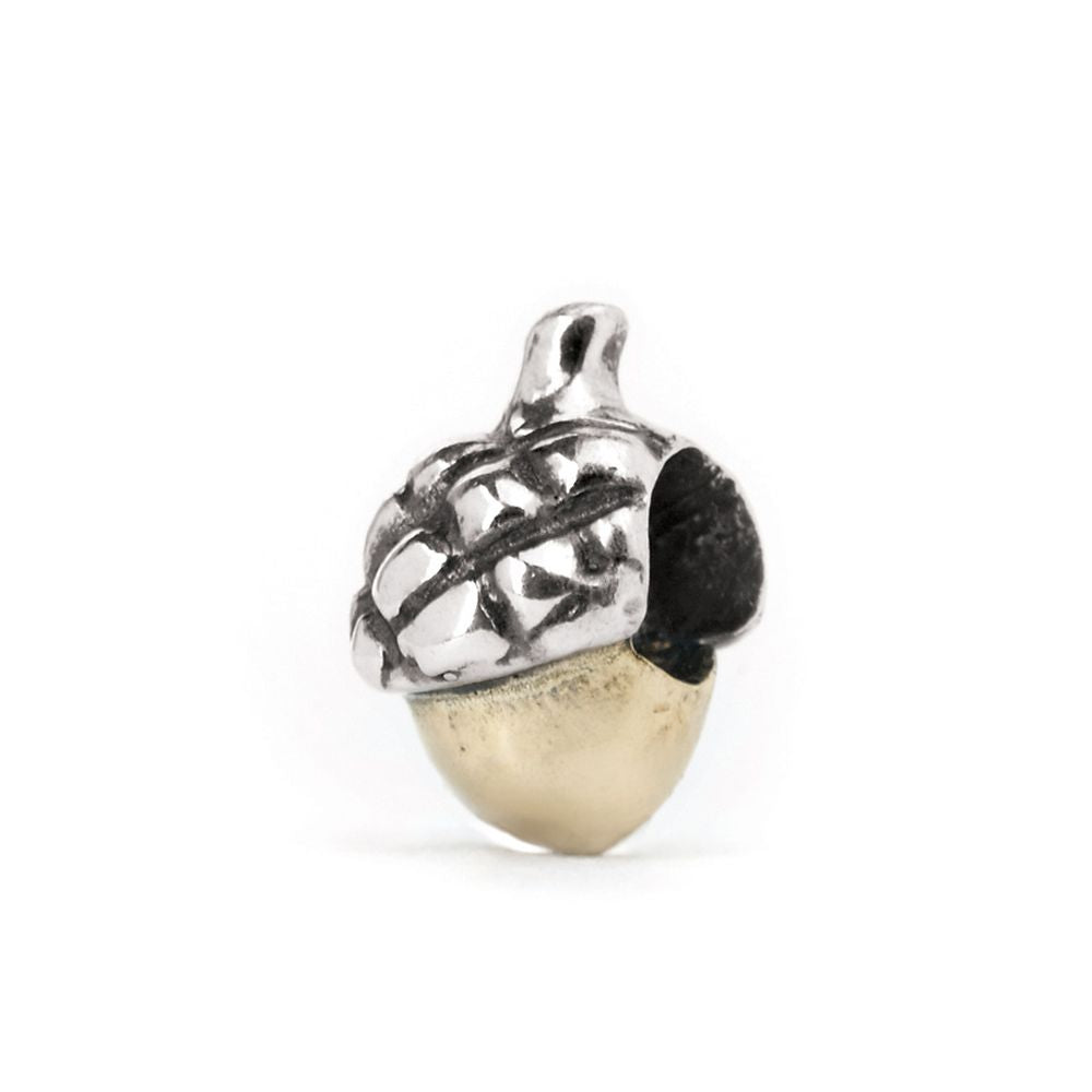 Novobeads Acorn, Silver with 14K Gold