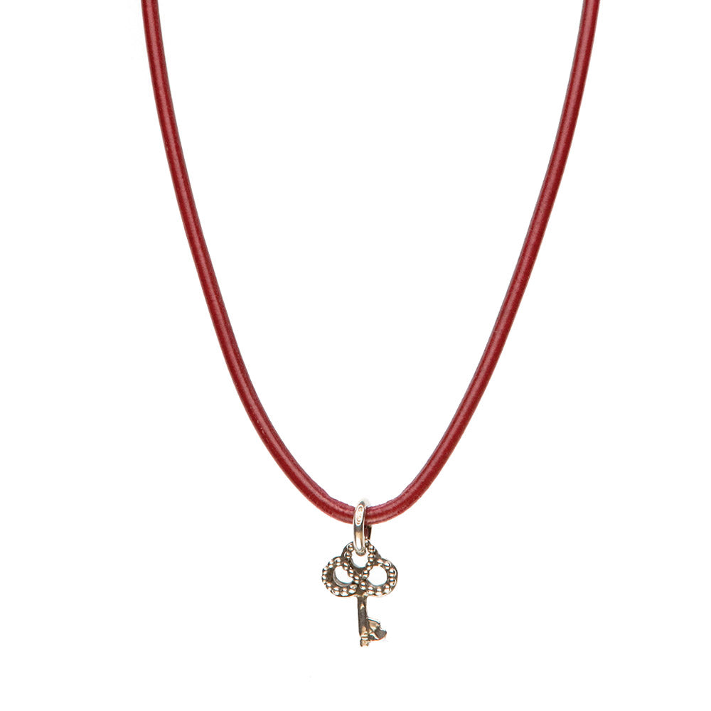 Novobeads Smooth Leather Necklace - Crimson