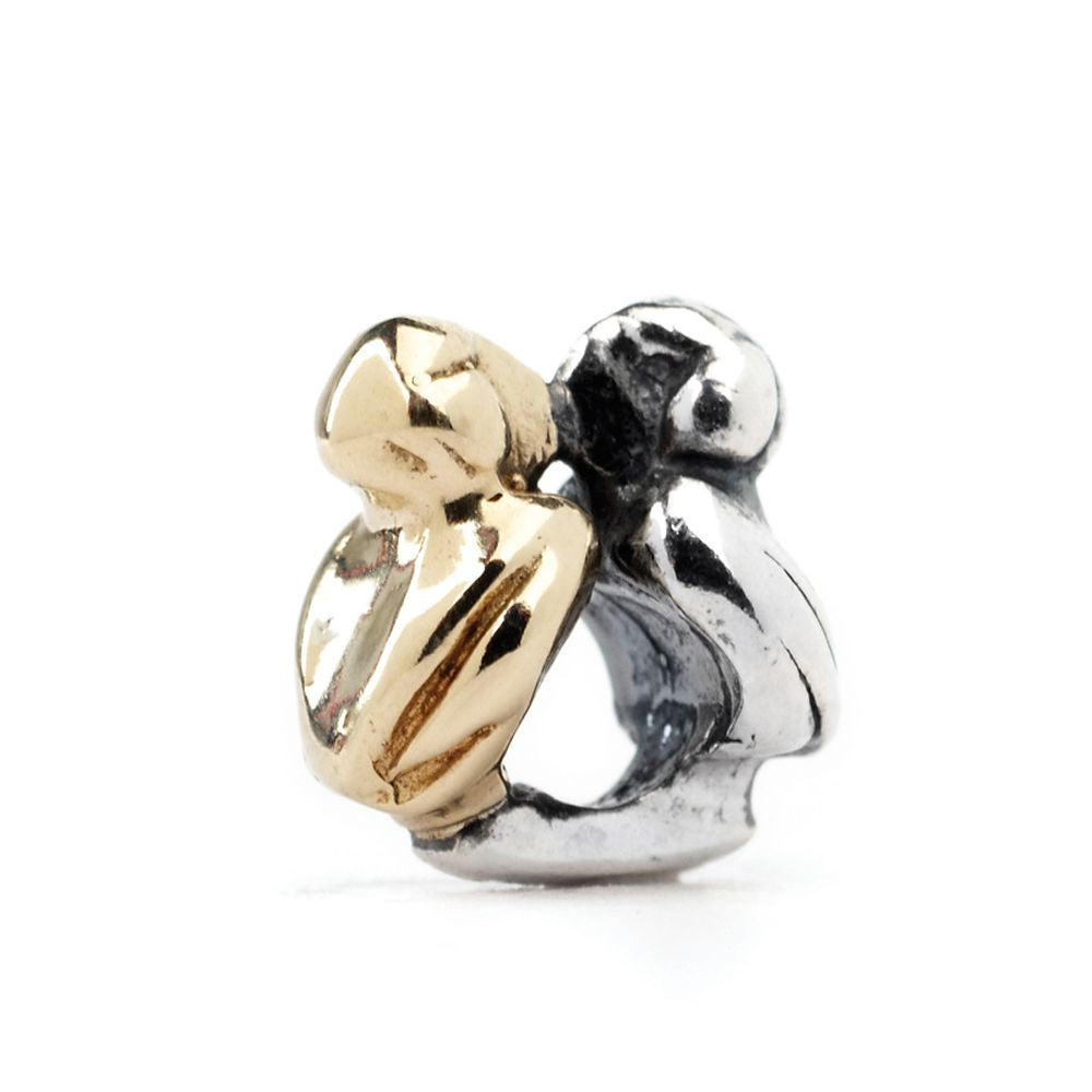 Novobeads Kissing Puffins, Silver with 14K Gold