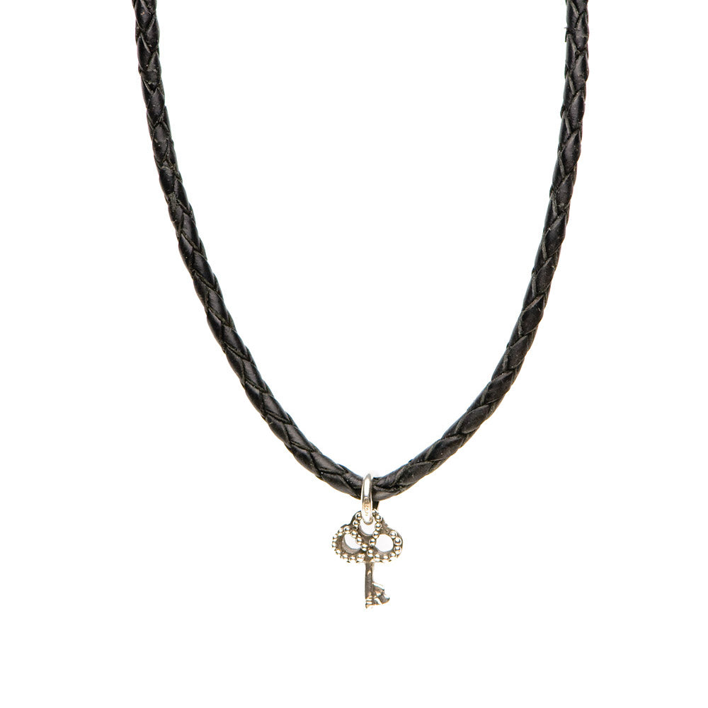 Novobeads Braided Leather Necklace - Black