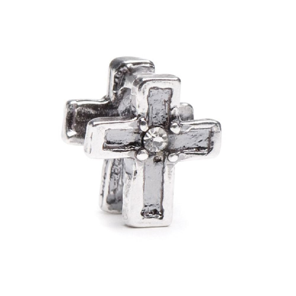 Novobeads Cross, Silver with Crystals
