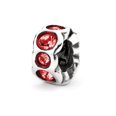 Novobeads Dark Red Band, Silver with Crystals
