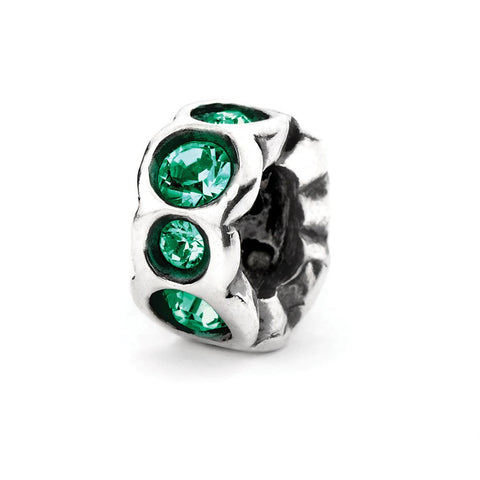 Novobeads Kelly Green Band, Silver with Crystals