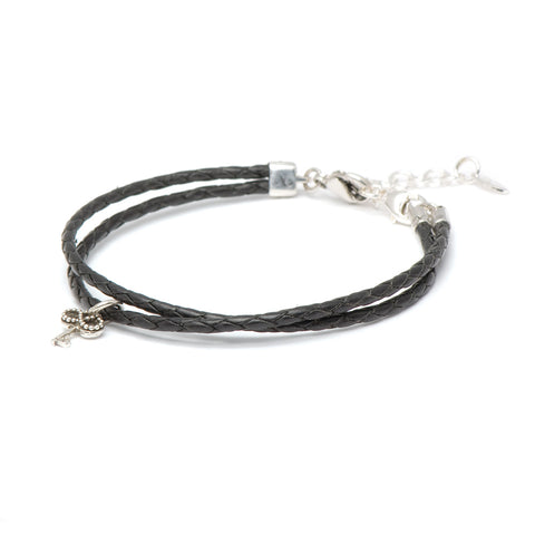 Novobeads Braided Leather Bracelet - Black