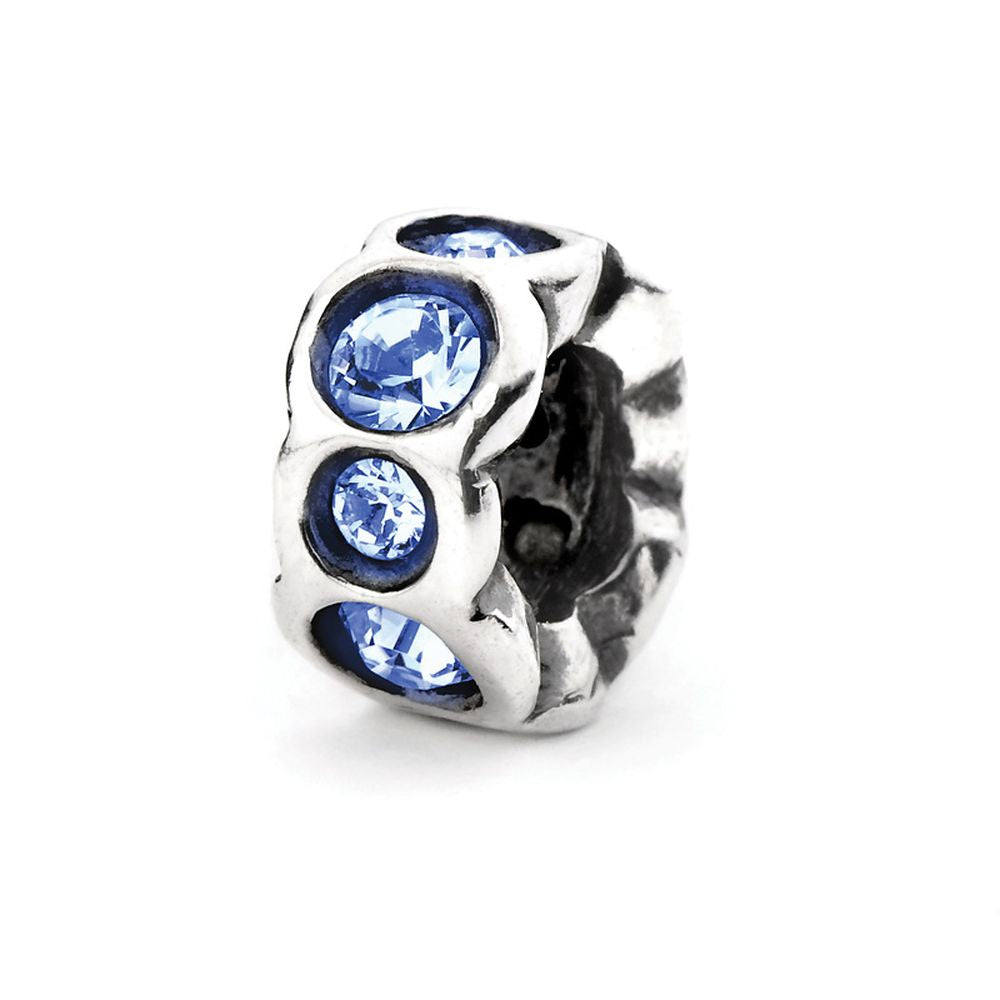 Novobeads Deep Blue Band, Silver with Crystals