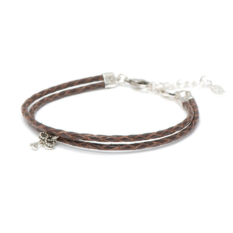 Novobeads Braided Leather Bracelet - Mocha