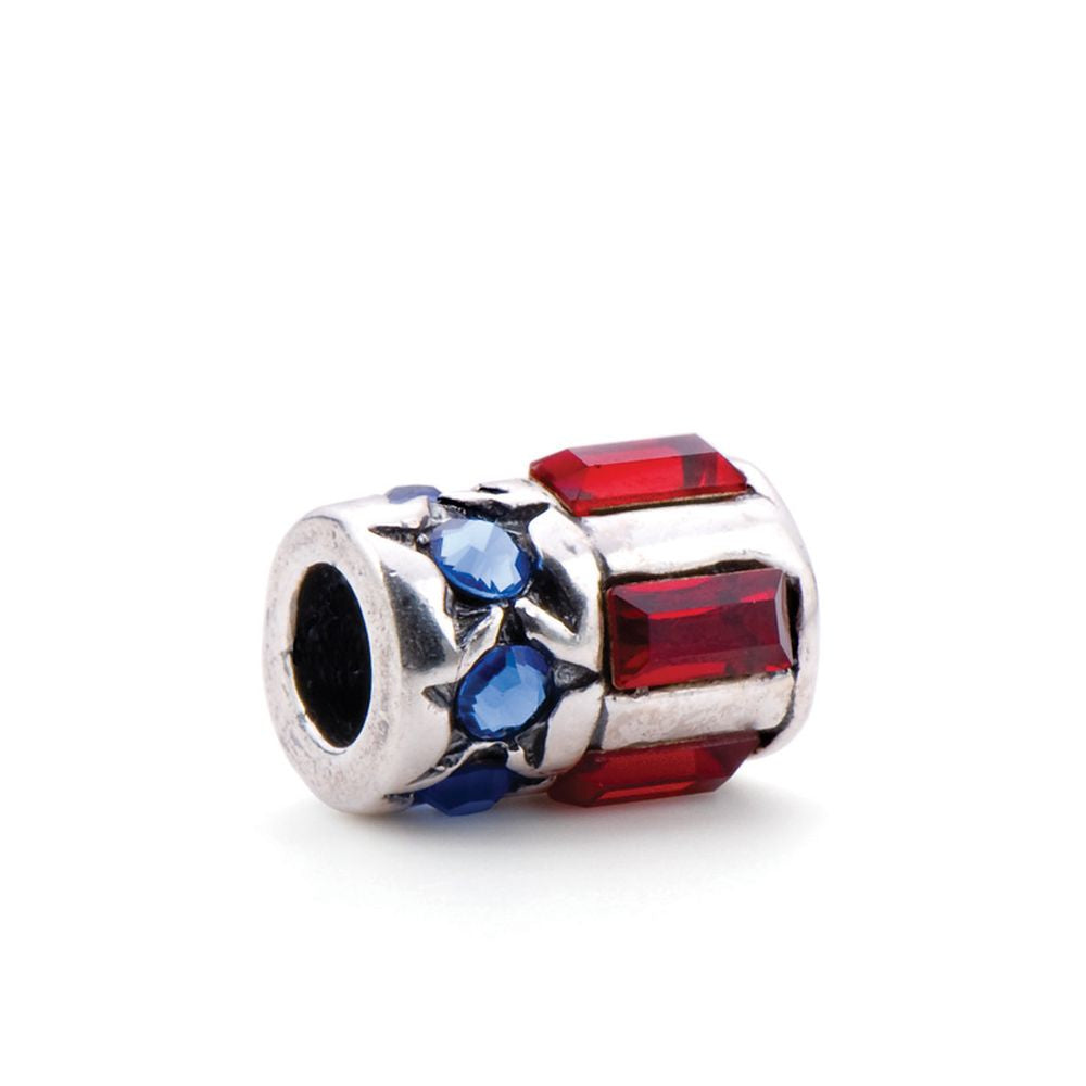 Novobeads Stars and Stripes, Silver with Crystals