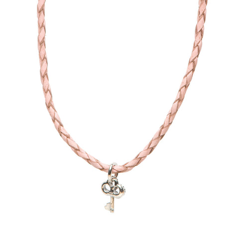Novobeads Braided Leather Necklace - Blush