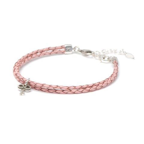 Novobeads Braided Leather Bracelet - Blush