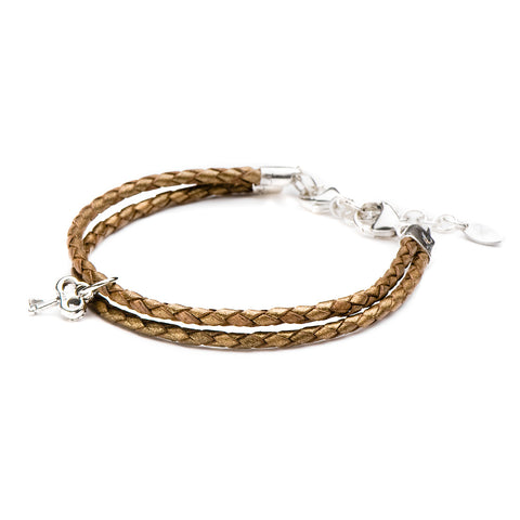 Novobeads Braided Leather Bracelet - Bronze