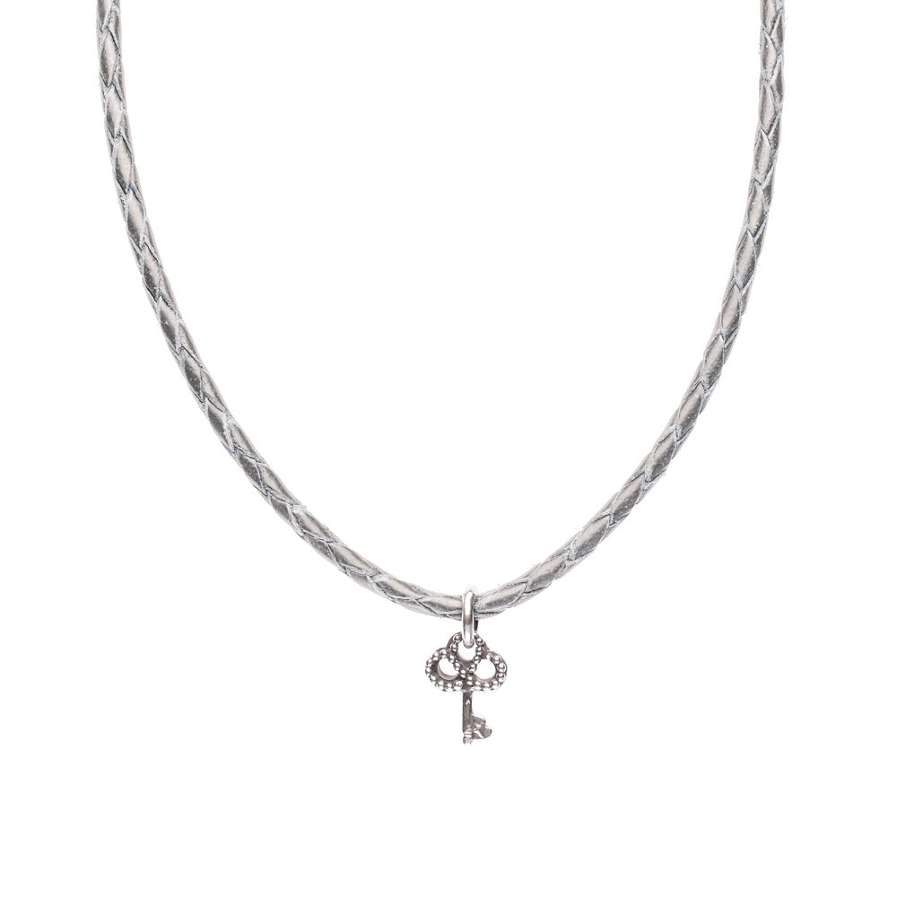 Novobeads Braided Leather Necklace - Silver