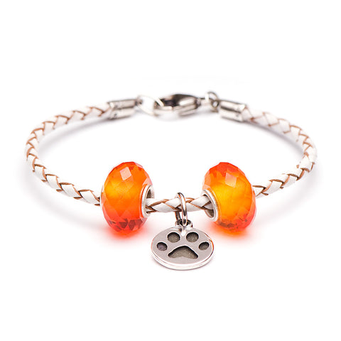 Novobeads School Spirit Bracelets, White/Orange Paw