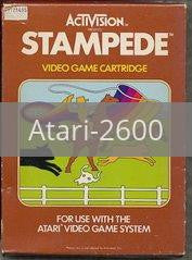 Image of Stampede original video game for Atari 2600 classic game system. Rocket City Arcade, Huntsville Al. We ship used video games Nationwide