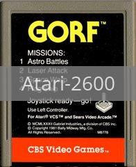 Image of Gorf original video game for Atari 2600 classic game system. Rocket City Arcade, Huntsville Al. We ship used video games Nationwide