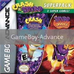 Image of Crash and Spyro Superpack: Purple & Orange original video game for GameBoy Advance classic game system. Rocket City Arcade, Huntsville Al. We ship used video games Nationwide