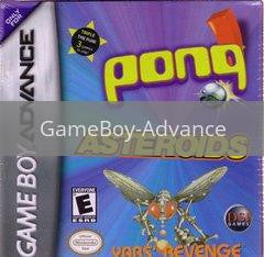 Image of Asteroids / Pong / Yar's Revenge original video game for GameBoy Advance classic game system. Rocket City Arcade, Huntsville Al. We ship used video games Nationwide