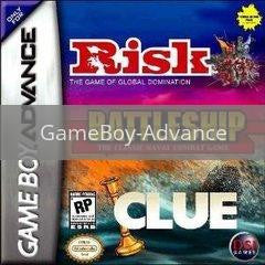 Image of Risk / Battleship / Clue original video game for GameBoy Advance classic game system. Rocket City Arcade, Huntsville Al. We ship used video games Nationwide