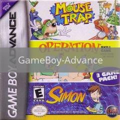 Image of Mouse Trap/Operation/Simon original video game for GameBoy Advance classic game system. Rocket City Arcade, Huntsville Al. We ship used video games Nationwide