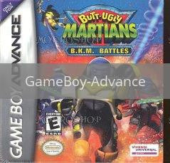 Image of Butt Ugly Martians BKM Battles original video game for GameBoy Advance classic game system. Rocket City Arcade, Huntsville Al. We ship used video games Nationwide