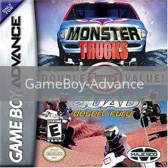 Image of Monster Trucks Quad Fury Double Pack original video game for GameBoy Advance classic game system. Rocket City Arcade, Huntsville Al. We ship used video games Nationwide