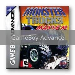 Image of Monster Trucks Mayhem original video game for GameBoy Advance classic game system. Rocket City Arcade, Huntsville Al. We ship used video games Nationwide