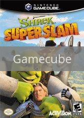 Image of Shrek Superslam original video game for Gamecube classic game system. Rocket City Arcade, Huntsville Al. We ship used video games Nationwide
