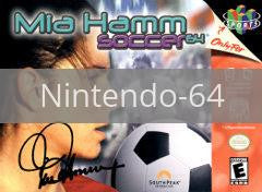 Image of Mia Hamm Soccer original video game for Nintendo 64 classic game system. Rocket City Arcade, Huntsville Al. We ship used video games Nationwide