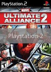 Image of Marvel Ultimate Alliance 2 original video game for Playstation 2 classic game system. Rocket City Arcade, Huntsville Al. We ship used video games Nationwide