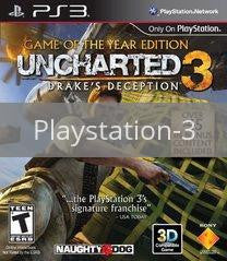 Image of Uncharted 3 Game of the Year Edition original video game for Playstation 3 classic game system. Rocket City Arcade, Huntsville Al. We ship used video games Nationwide