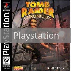 Image of Tomb Raider Chronicles original video game for Playstation classic game system. Rocket City Arcade, Huntsville Al. We ship used video games Nationwide