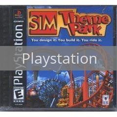 Image of Sim Theme Park original video game for Playstation classic game system. Rocket City Arcade, Huntsville Al. We ship used video games Nationwide