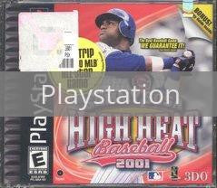 Image of Sammy Sosa High Heat Baseball 2001 original video game for Playstation classic game system. Rocket City Arcade, Huntsville Al. We ship used video games Nationwide