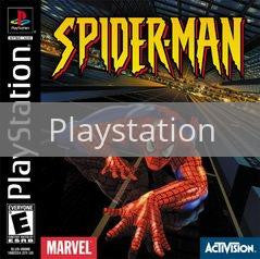 Image of Spiderman original video game for Playstation classic game system. Rocket City Arcade, Huntsville Al. We ship used video games Nationwide