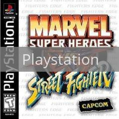 Image of Marvel Super Heroes vs. Street Fighter original video game for Playstation classic game system. Rocket City Arcade, Huntsville Al. We ship used video games Nationwide