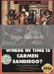 Image of Where in Time is Carmen Sandiego original video game for Sega Genesis classic game system. Rocket City Arcade, Huntsville Al. We ship used video games Nationwide