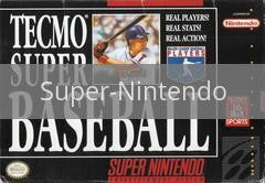 Image of Tecmo Super Baseball original video game for Super Nintendo classic game system. Rocket City Arcade, Huntsville Al. We ship used video games Nationwide