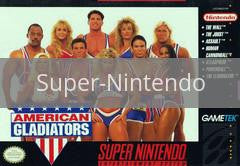 Image of American Gladiators original video game for Super Nintendo classic game system. Rocket City Arcade, Huntsville Al. We ship used video games Nationwide