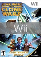 Image of Star Wars Clone Wars Lightsaber Duels original video game for Wii classic game system. Rocket City Arcade, Huntsville Al. We ship used video games Nationwide