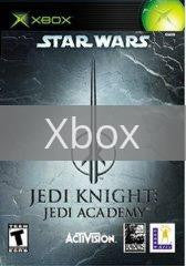 Image of Star Wars Jedi Knight Academy original video game for Xbox classic game system. Rocket City Arcade, Huntsville Al. We ship used video games Nationwide