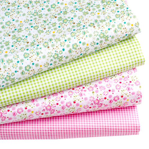 Checkered/Floral Cotton Fabric Bundle